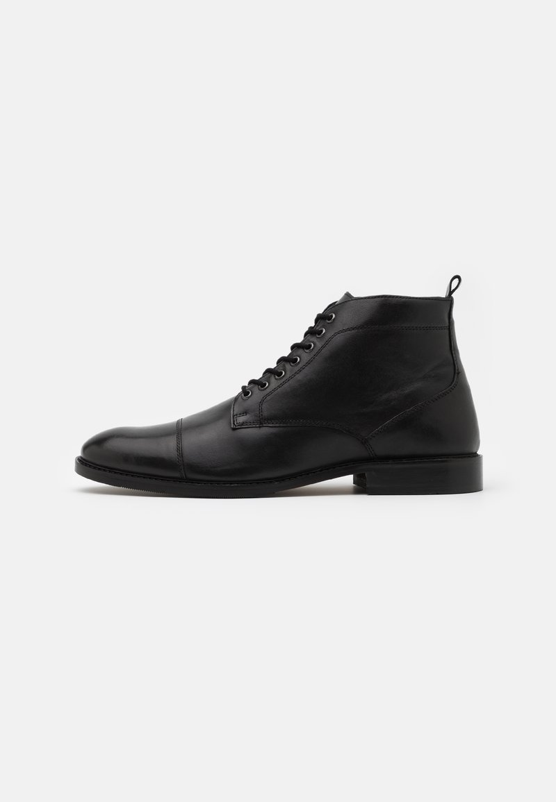 Zign - LEATHER - Lace-up ankle boots - black