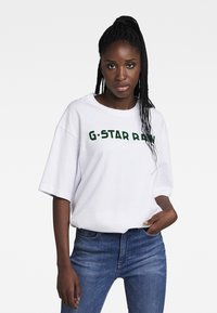 G-Star - FLOCK BOXY R T UNISEX  - Print T-shirt - dry jersey o white - 1