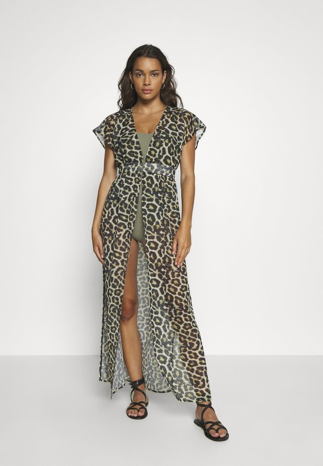 LEOPARD PRINT BEACH DRESS - Beach accessory - black/brown
