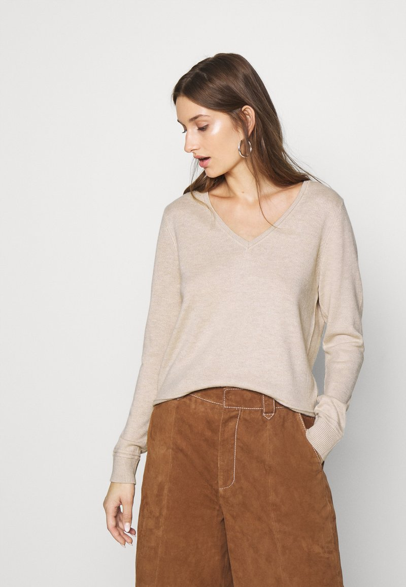 Selected Femme - SLFINKA VNECK - Jumper - birch melange