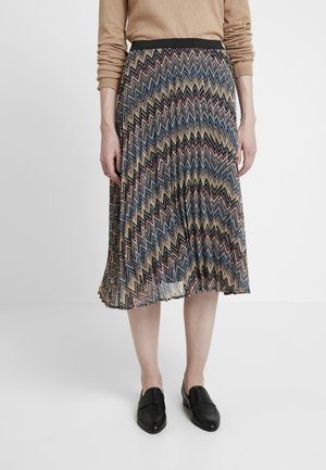 SKIRT MIDI - A-line skirt - black/multi