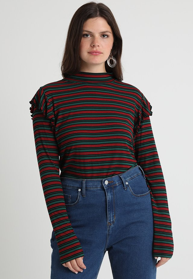 LADIES STRIPED TURTLENECK - T-shirt à manches longues - green/black/firered
