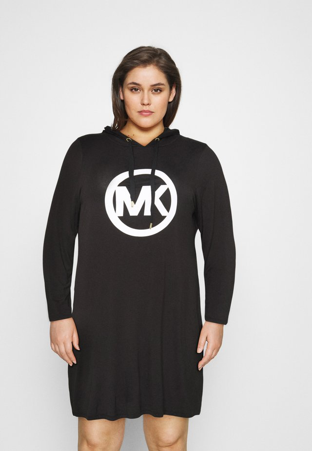 CIRCLE HOODIE DRESS - Korte jurk - black