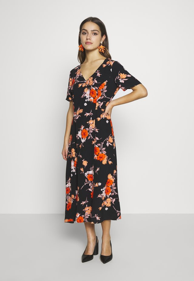 PETITES ORIENTAL FLORAL SPLIT FRONT MIDI - Day dress - black