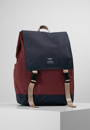 SLIM FLAP BACKPACK UNISEX - Rucksack - navy/burgundy/multicolor