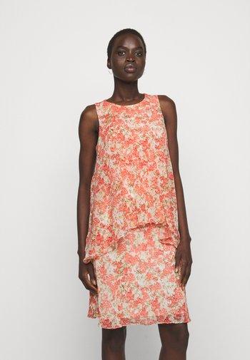 PRINTED GEORGETTE DRESS - Day dress - cream/coral