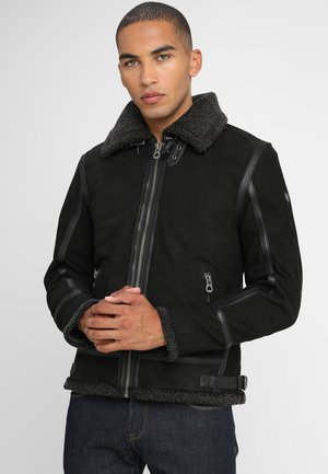 AIR FORCE - Leather jacket - schwarz