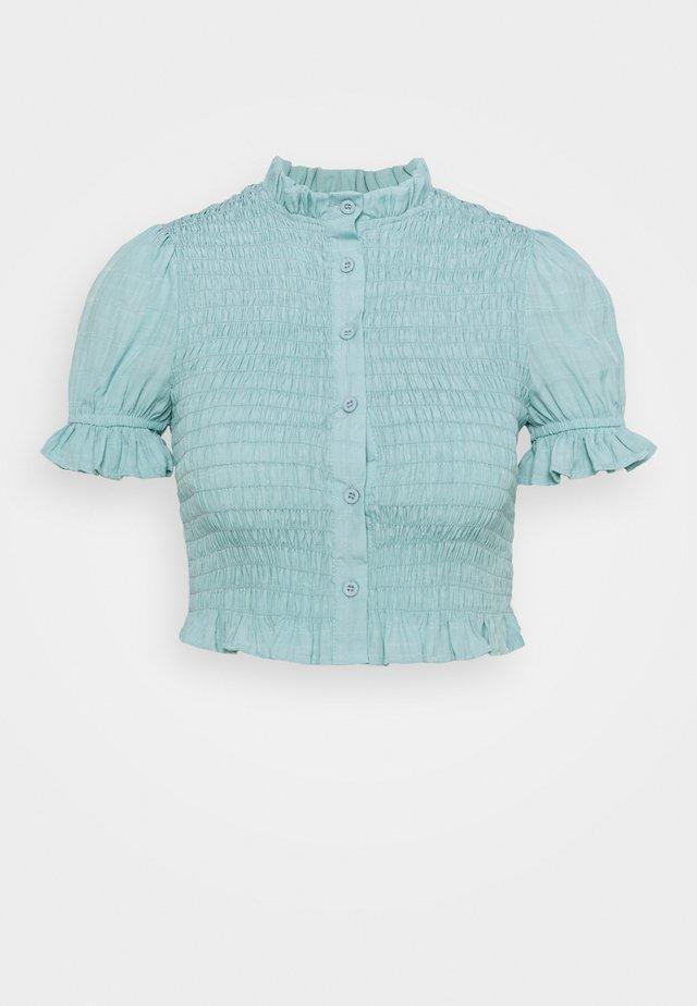FRILL CUFF SHIRRED SHIRT - Blouse - blue