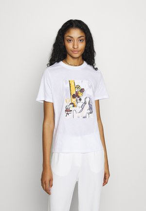 WOMAN WATERCOLOR TEE - Print T-shirt - white