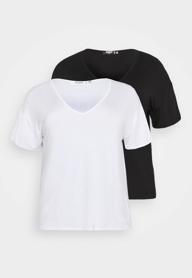 V NECK 2 PACK - T-shirts - white/black