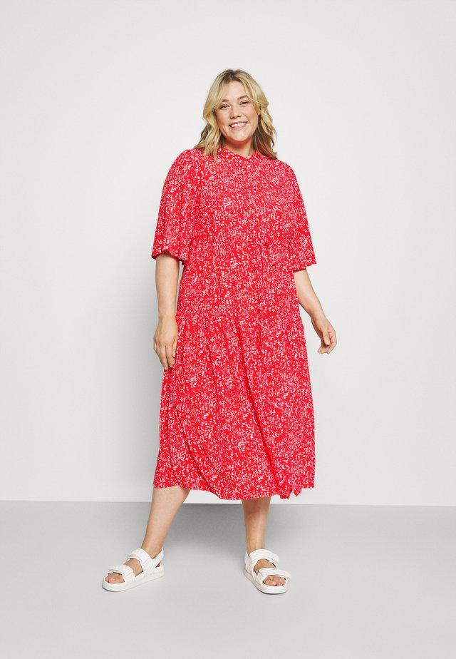 TIE WAIST SHIRT DRESS - Blousejurk - red