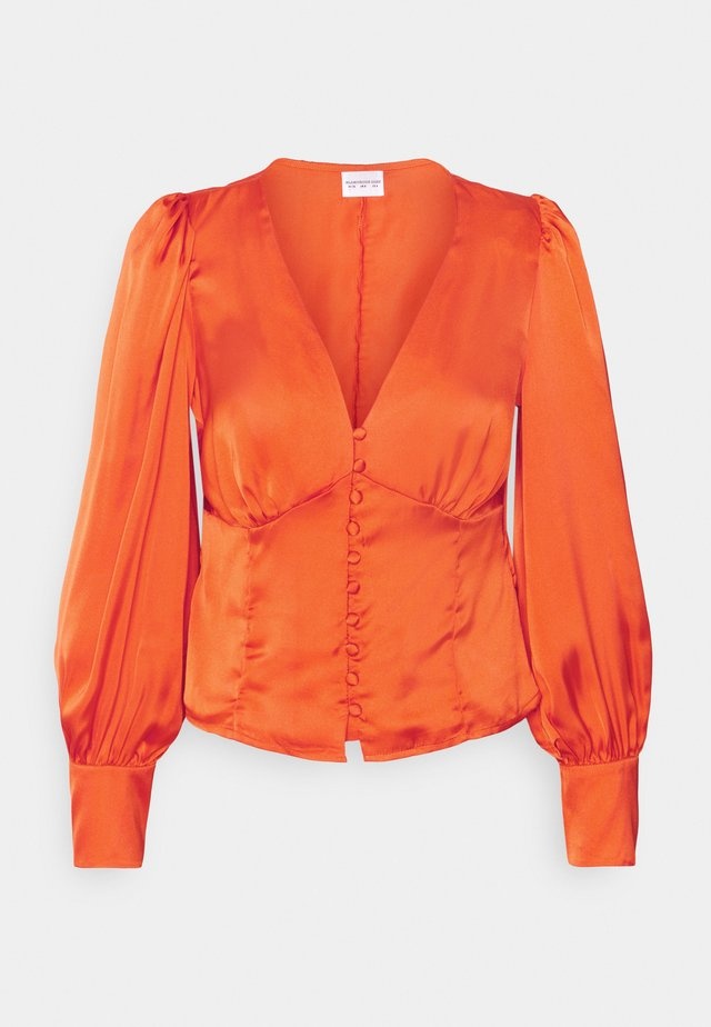 V NECK BLOUSE WITH BUTTON DETAIL - Blouse - orange