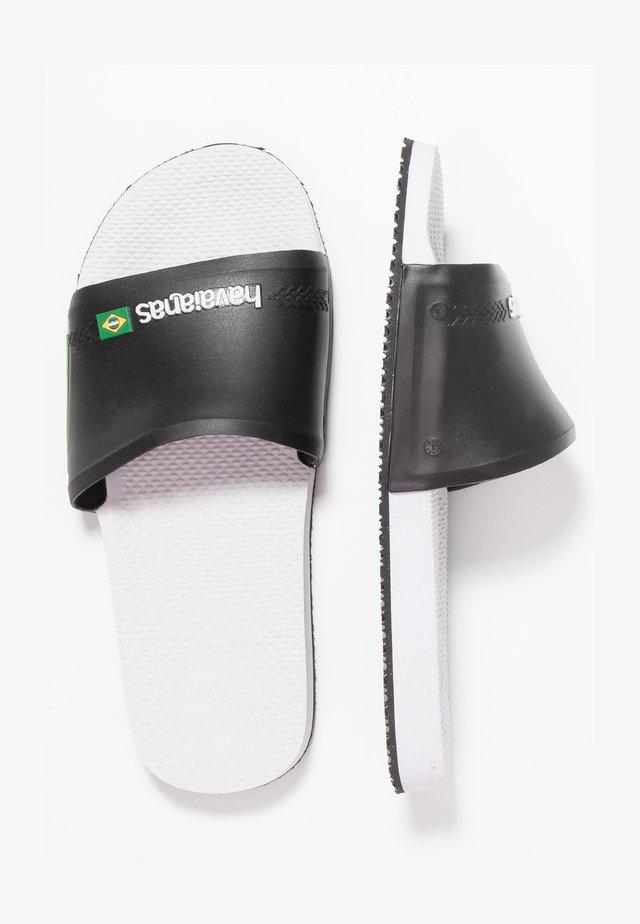 SLIDE BRASIL - Sandales de bain - White/Black