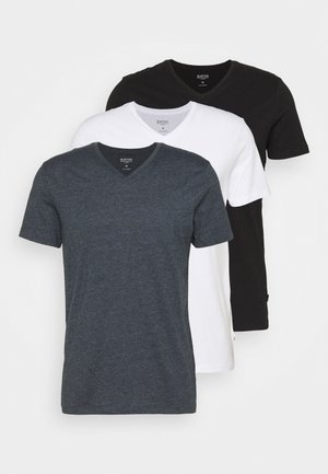 SHORT SLEEVE V NECK 3 PACK - Basic T-shirt - black/white/navy
