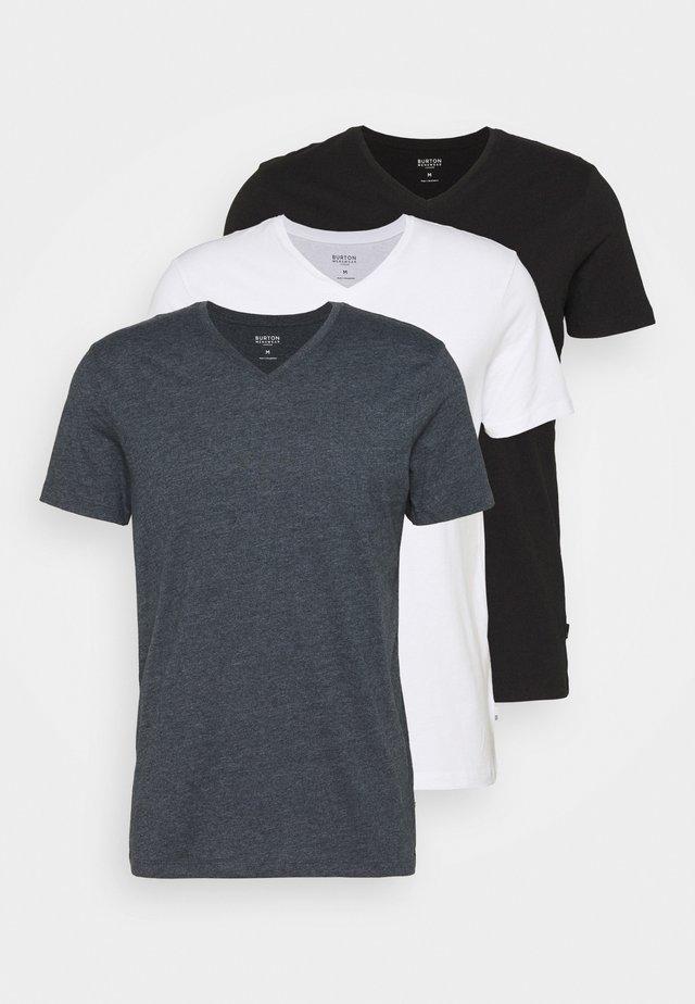 SHORT SLEEVE V NECK 3 PACK - Basic T-shirt - black/white/navy