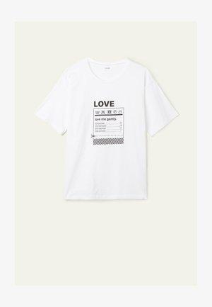 Print T-shirt -  white love print