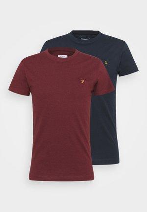FARRIS 2 PACK - Basic T-shirt - farah red marl/true navy
