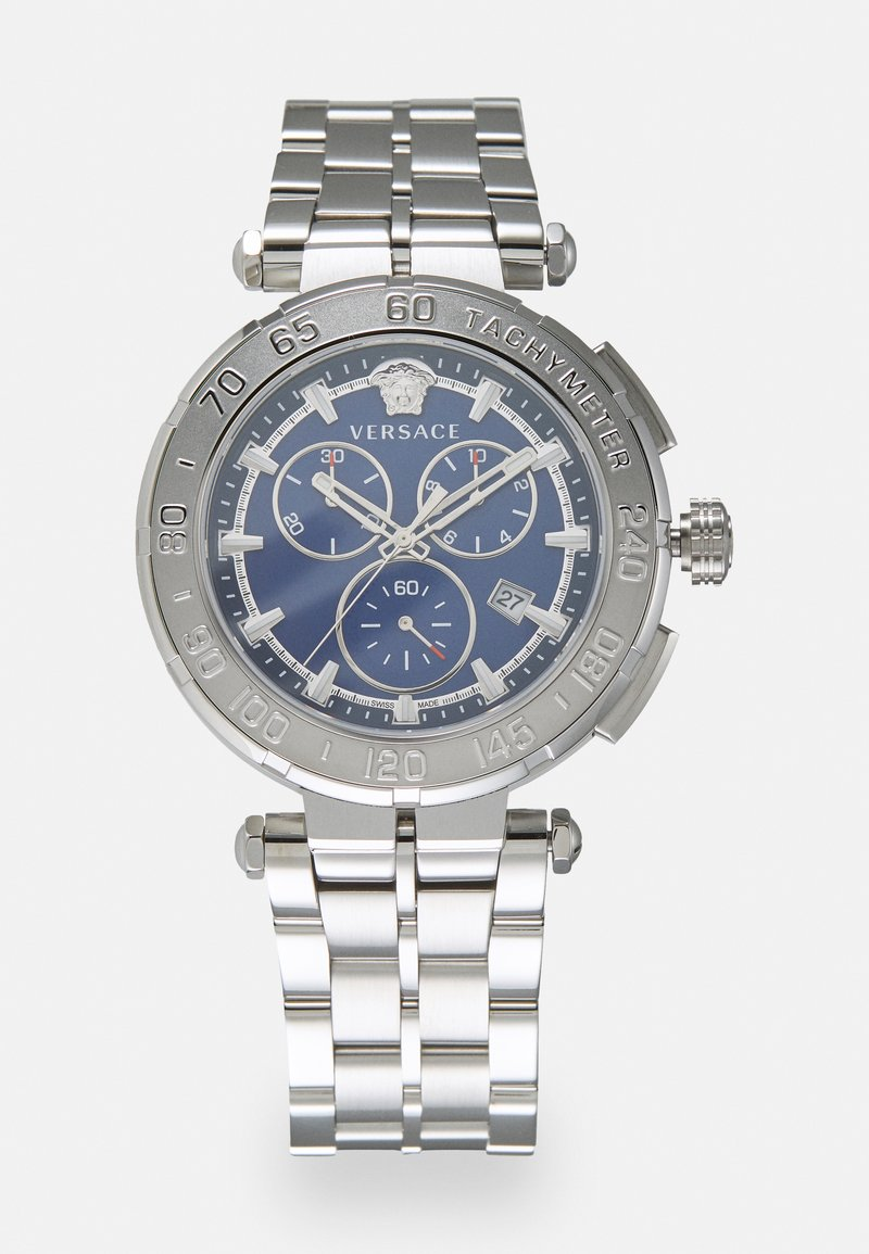 Versace Watches - GRECA - Chronograph watch - silver-coloured/blue