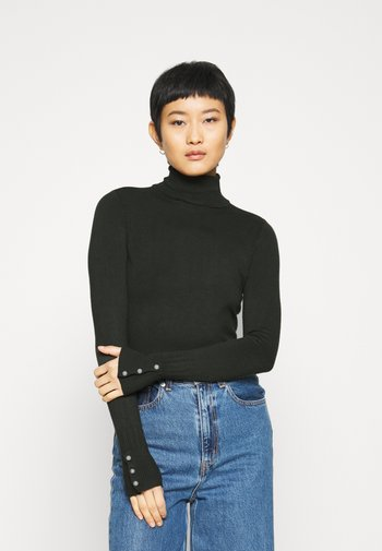 SUSTAINABLE PEARL BUTTON CUFF ROLL NECK JUMPER