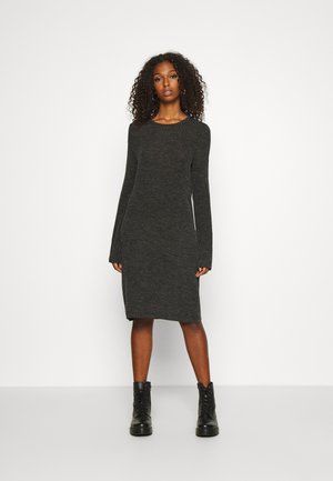 NMLUCIE ONECK DRESS - Stickad klänning - dark grey melange