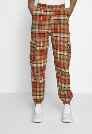 CHECKED HIGH WAISTED CUFFED JOGGERS - Trousers - orange