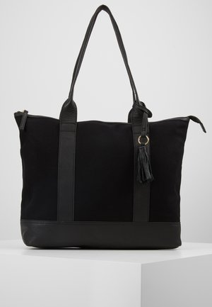 LEATHER/COTTON - Shopping bag - black