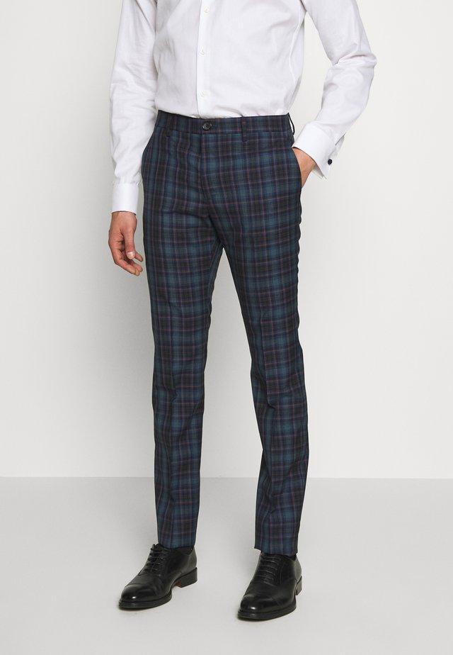 MENS TROUSER CHECKED - Oblekové kalhoty - navy