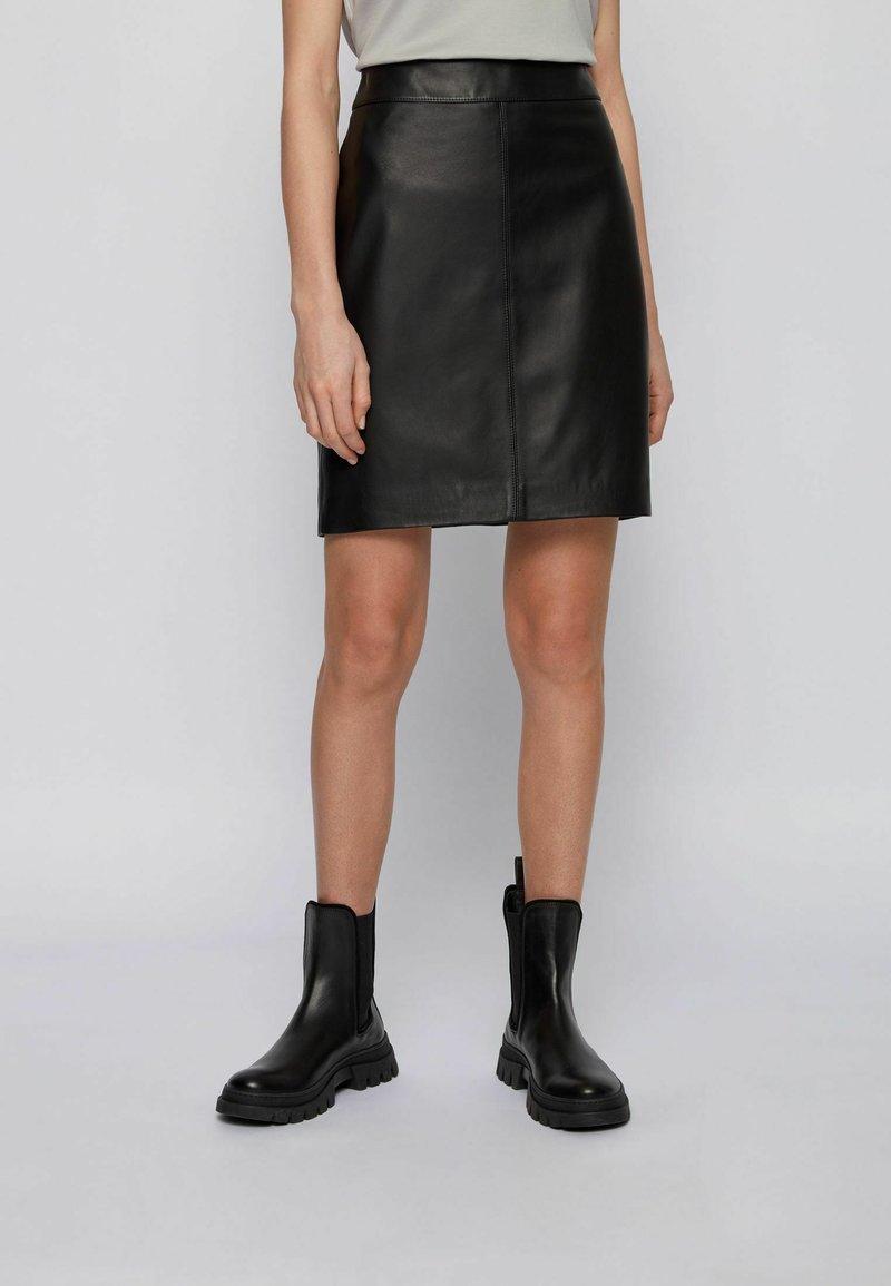 BOSS - Leather skirt - black