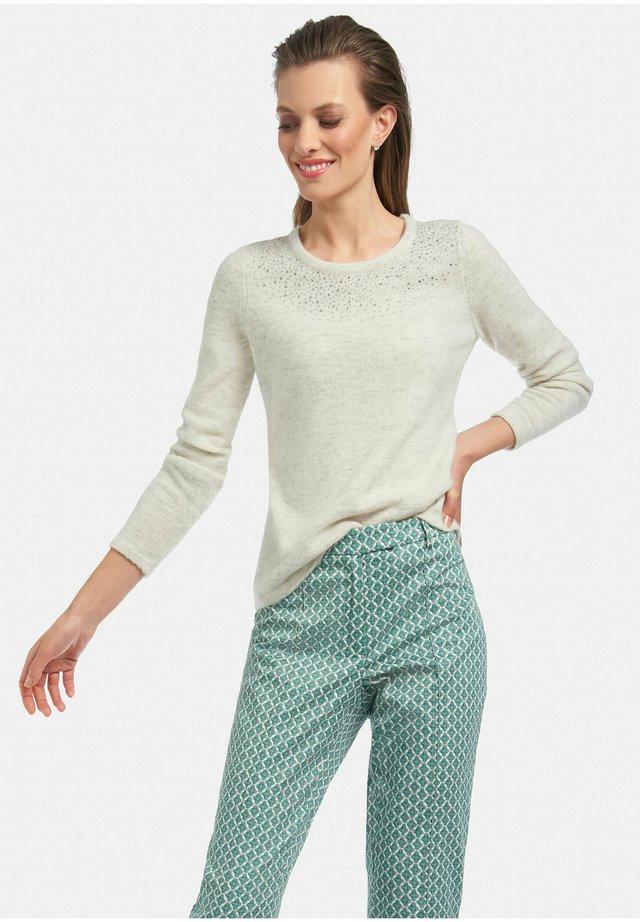Pullover - ecru-grau melange