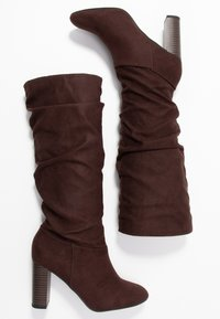 Dorothy Perkins Wide Fit - WIDE FIT KISS 70S LONG BOOT - High heeled boots - choc - 3