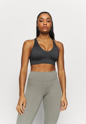 WORKOUT TRAINING CROP - Medium support sports bra - charcoal marle