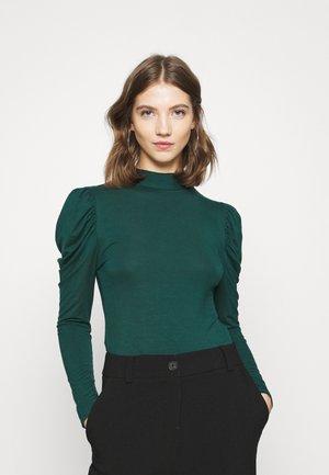 GATERED FUNNEL - Top sdlouhým rukávem - green