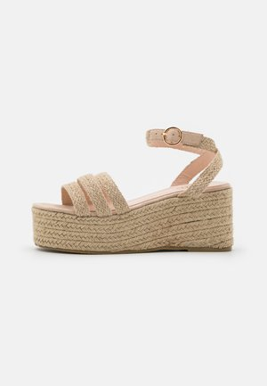 WIDE FIT MALAIKA - Platform sandals - nude