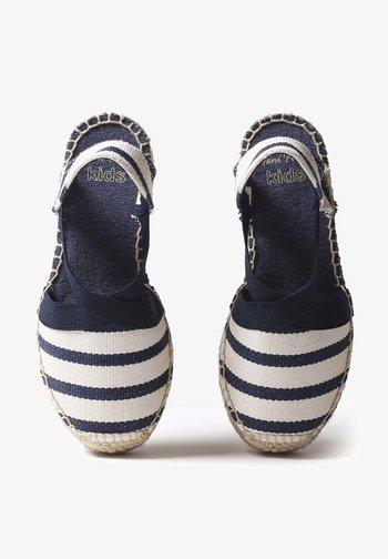 EDITA  - Wedge sandals - ecru navy stripe