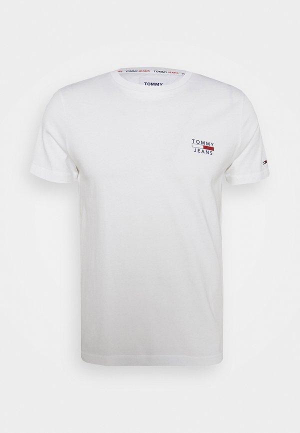 Tommy Jeans CHEST LOGO TEE - T-shirt z nadrukiem - white/biały Odzież Męska RYGB