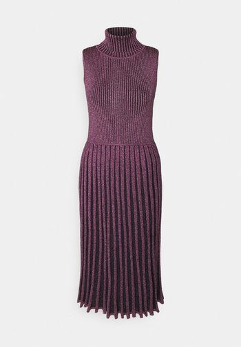 PLEATED MIDI DRESS - Shift dress - black/pink