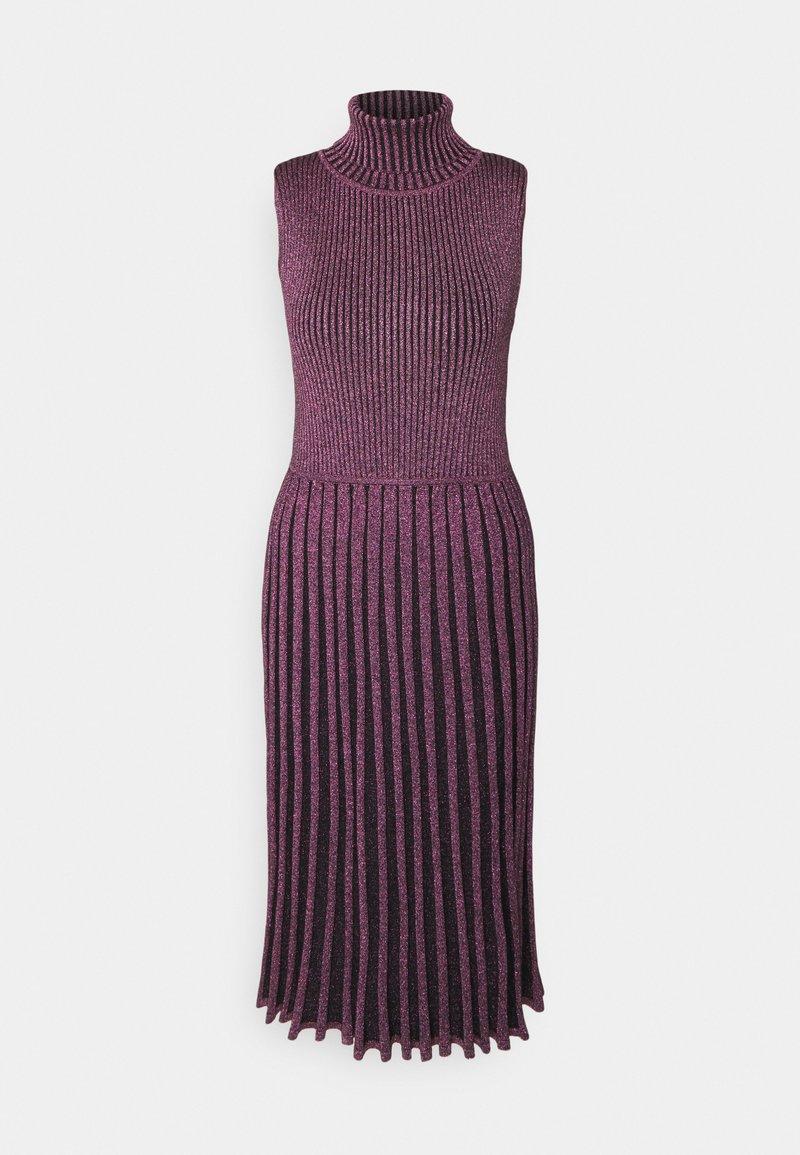 Milly - PLEATED MIDI DRESS - Shift dress - black/pink