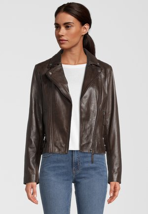 CAMILLE - Leather jacket - d brown