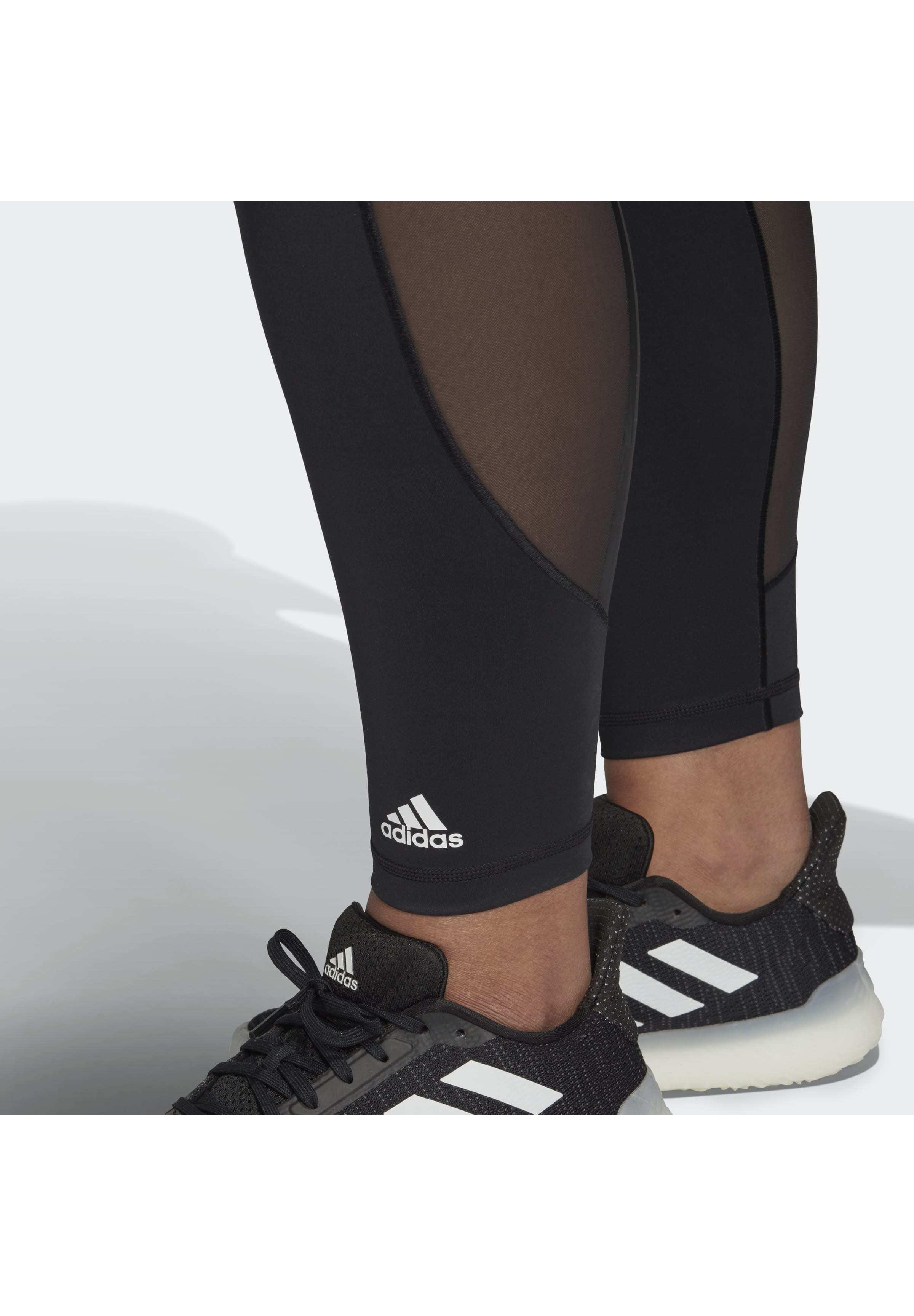 Adidas Performance Believe This 3-stripes Mesh Long Leggings (plus Size) - Medias Black
