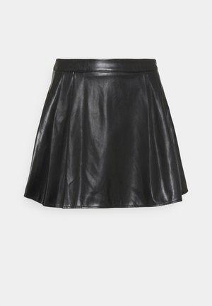 SIDE PLEAT SKIRT - Mini skirt - black