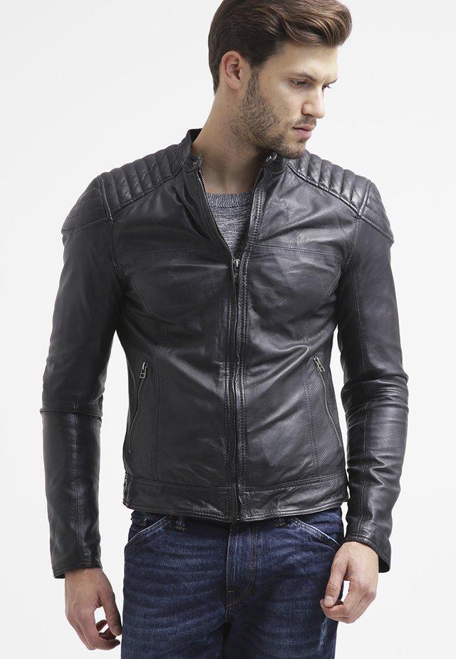 BIKER - Veste en cuir - black