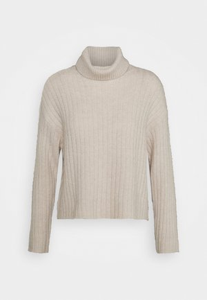 RIBBED BOXY TURTLE NECK - Jumper - beige