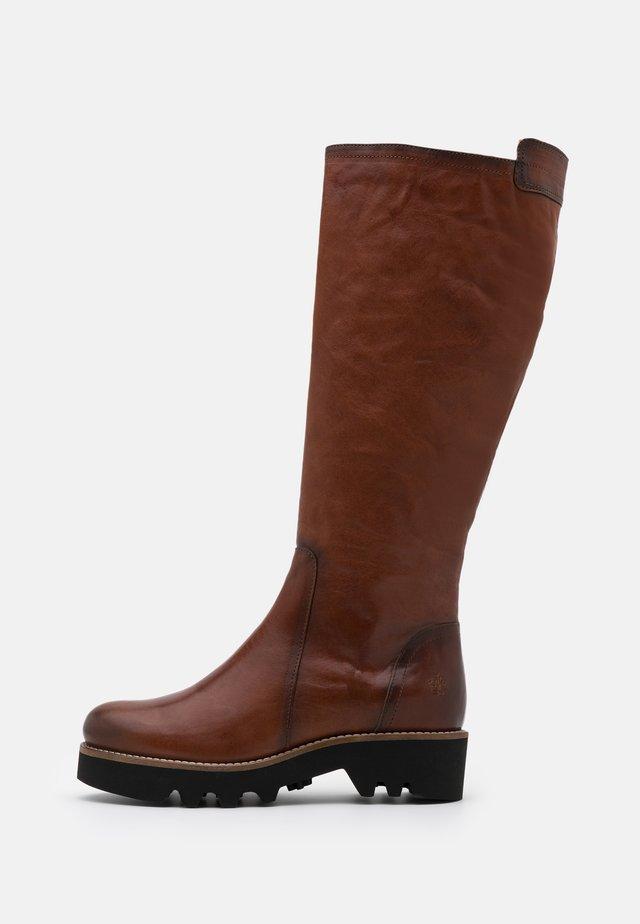 VANIA - Platform boots - cognac