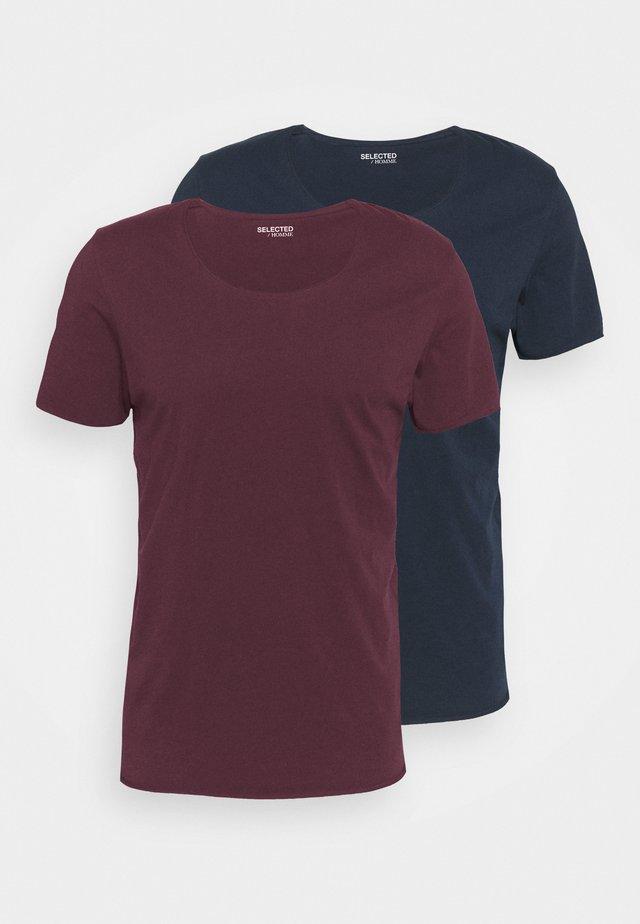 SLHNEWMERCE O NECK TEE 2 PACK - Jednoduché triko - winetasting/navy blazer