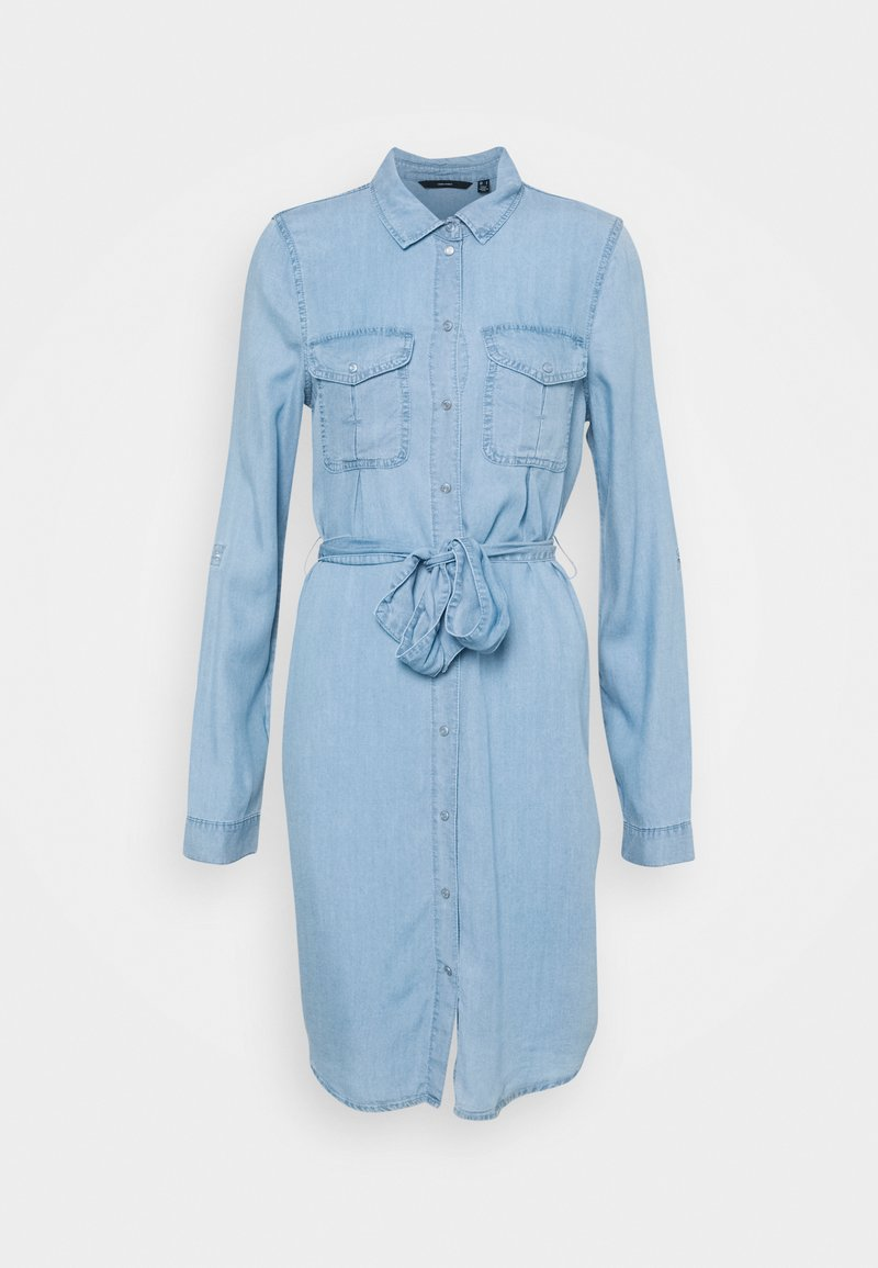 Vero Moda Tall - VMVIVIANAMIA SHIRT DRESS - Denim dress - light blue denim