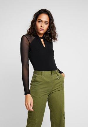 RUBY TWIST NECK KEY HOLE - Long sleeved top - black