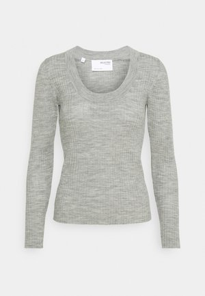 SLFCOSTA NEW DEEP UNECK - Sweter - light grey melange