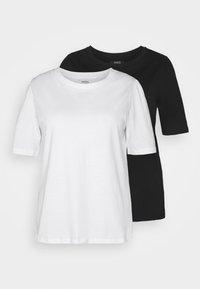 Simply Be - 2 PACK GATHERED TEES - Basic T-shirt - black/white - 5