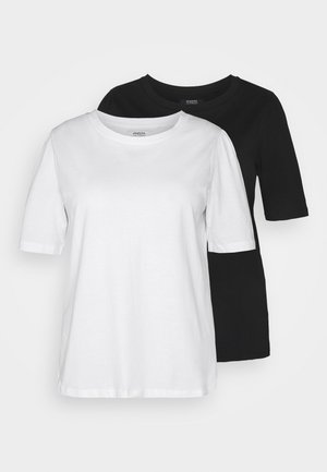 2 PACK GATHERED TEES - Basic T-shirt - black/white