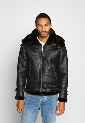BENTON JACKET - Faux leather jacket - black